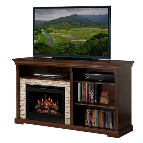 """Edgewood 65"""" Tv Stand With Electric Fireplace Insert Style: Logs"""