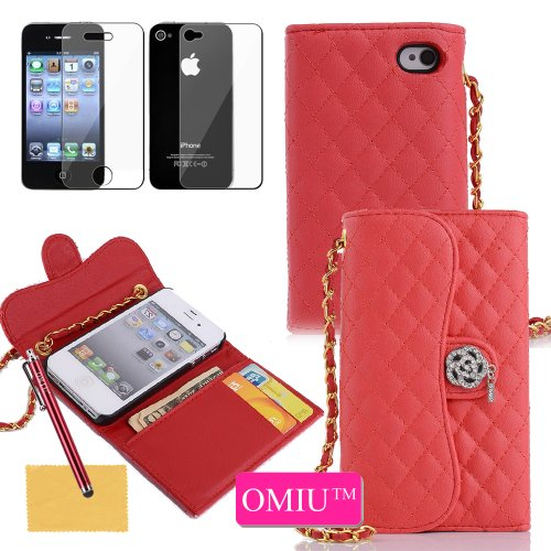 Iphone 4 Case, Iphone 4S Case, Omiu(Tm)Deluxe Diamond Quilted Fashion Handbag Clutch Wallet Case With Bling And Creadit Card Holder Cover Protector For Iphone 4 4G 4S(Red),Sent Screen Protector+Stylus+Cleaning Cloth front-47729