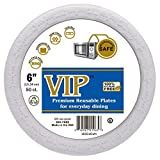 VIP Plates (TM) - 6 Inch Disposable Plastic Plates - Microwave Safe Plates Styrene Free and Completely Crack Resistant - (6 Inch Diameter - 50 Count Per Package, White Plates)