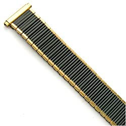 Watch Band Expansion Strech Metal Black with Gold color edges fits 16mm to 19mm
