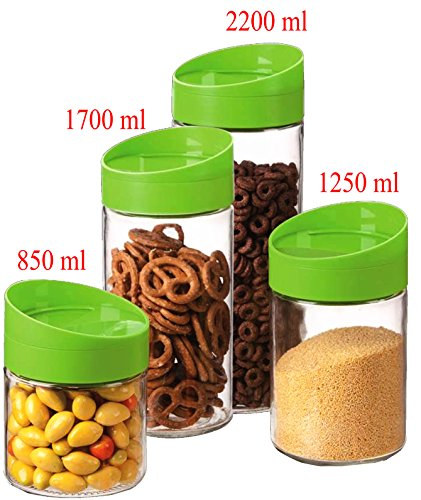 4 Pcs Glass Food Storage Jar Canister Set Plastic Lid / Tight Seal Lids /Space Saver (Pretty Plastic Jars compare prices)