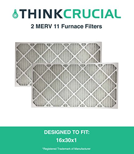 2 MERV 11 Allergen Air Furnace Filters 16x30x1, Designed & Engineered by Crucial Air