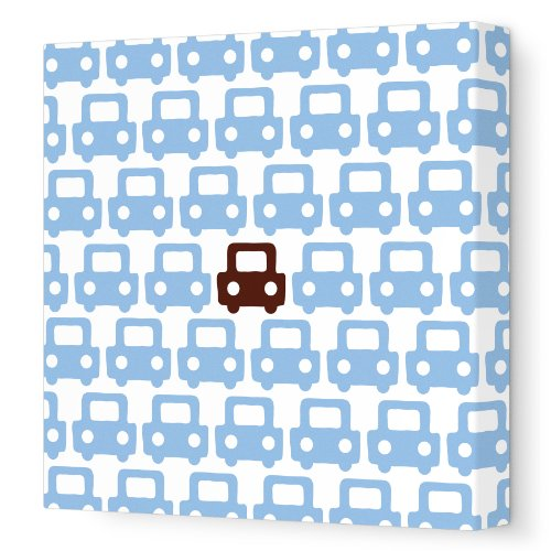 """Avalisa Stretched Canvas Nursery Wall Art, Auto Pattern, Blue/Brown, 28"""" X 28"""" front-1035379"""