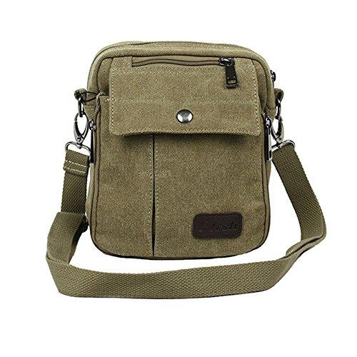 Neu Herren Damen Vintage Canvas Schultertasche Schultasche für Outdoor Canvas Leder Umhängetaschen Vintag Tasche Canvas Rucksack (Kahki)