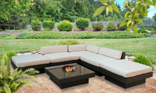 Outdoor Patio Wicker Sofa Sectional 6 Pc Set Espresso - All Weather & Free Shipping Direct From Lexington Modern!