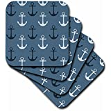 3dRose Cst_123490_2 Nautical Anchors In Blue And White Beach Theme Soft Coasters, Set Of 8