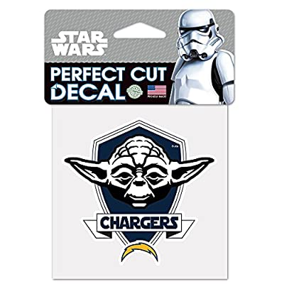 San Diego Chargers Official NFL 4 inch x 4 inch Star Wars Yoda Die Cut Car Decal by Wincraft 402165