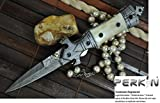 Now on Sale - Handmade Damascus Hunting Knife - Beautiful Folding Knife - Work of Art