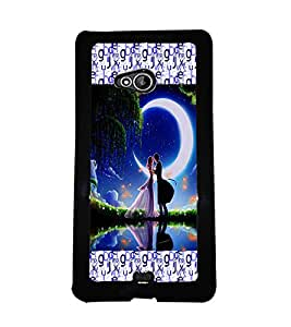 PRINTVISA Couple With Moon Light Premium Metallic Insert Back Case Cover for Nokia XL - D5757