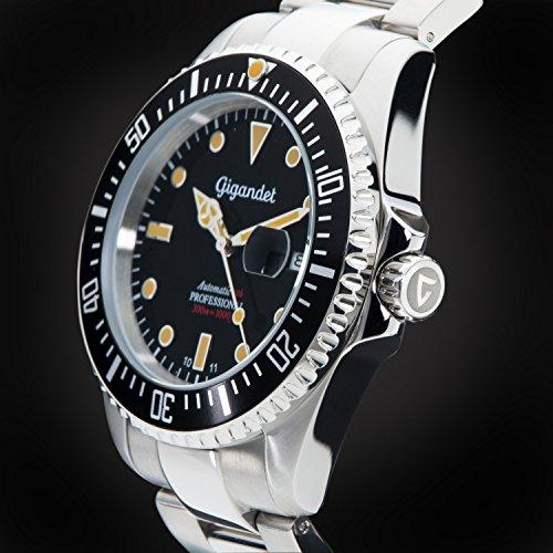 Gigandet Automatik Herren-Armbanduhr Sea Ground Vintage Taucheruhr Uhr Datum Analog Edelstahlarmband Schwarz Silber G2-007 5