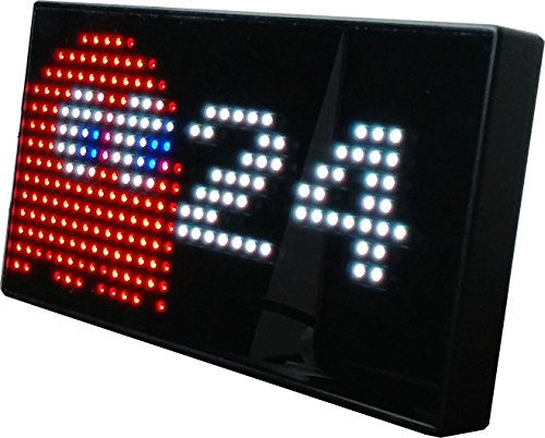 PAC-MAN Premium LED Desk Clock - 512 Vibrant LED`s Display Classic Animations From the Hit Arcade Video Game - Officially Licensed Merchandise - Great 8-bit Retro Gift!