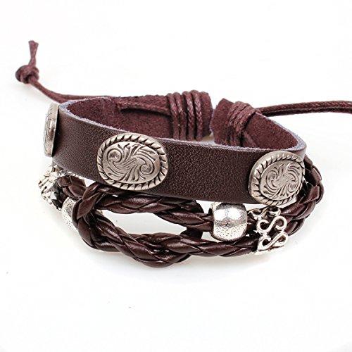 Modern Fantasy Antiqued Style Oval Embellished Phoenix Engraved Alloy Plate Multi-strand Adjustable Length Leather Wrap Bracelet