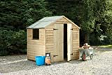 7' x 5' Wooden Garden Shed Double Door Apex Roof Low Maintenance Overlap Wood 15 Year Anti-Rot Guarantee