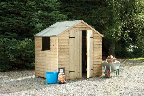 7' x 5' Wooden Garden Shed Double Door Apex Roof Low Maintenance Overlap Wood 15 Year Anti-Rot Guarantee