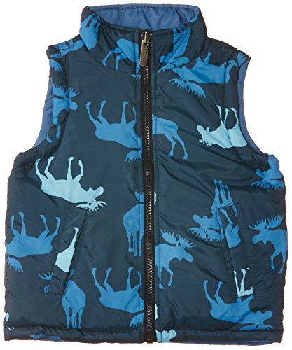 Hatley Little Boys' Little Boys' Reversible Puffer Vest Blue Moose, Blue, 4 front-1025039