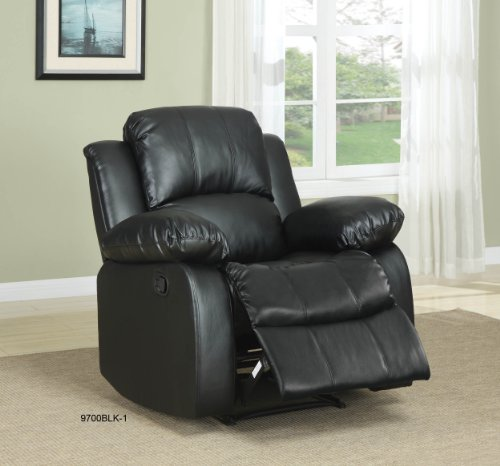 Homelegance 9700blk 3 Double Reclining Sofa Black Bonded Leather