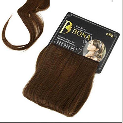 BONAエクステ ブラウン 高品質100%人毛エクステ 手軽にヘアアレンジ ドライヤー・ヘアアイロンも使用OK