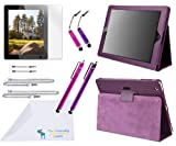 "The Friendly Swede Purple PU Leather Case / Stand / Cover for Apple iPad 2 / iPad 3 / iPad 4 + Clear Screen Protector + 2 Medium Stylus Pens + 2 Short Stylus Pens + 2 X 4"" / 2 X 12"" / 2 X 14"" Detachable Lanyards + Cleaning Cloth in Retail Packaging"