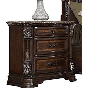 Aosta Marble Top Nightstand in Warm Cherry