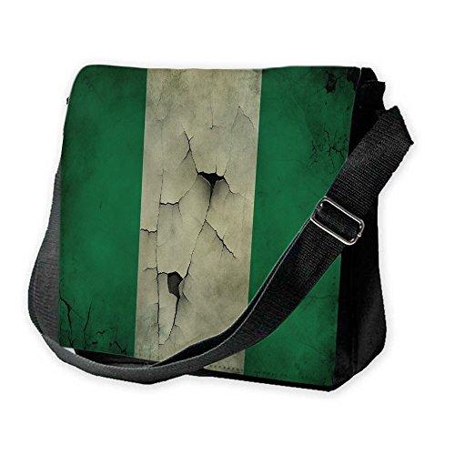 Bandiere Nigeria 1, Mappa del Mondo, Unisex Nero Sublimazione Borsa a tracolla Reporter Bag con Spallacci regolabili e Motivo Colorato.Dimensione:Grande-28x28x11cm