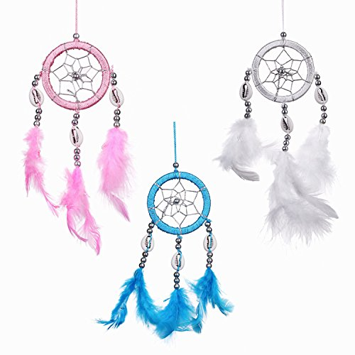 Lot of 3 Mini Dream Catcher Pure Blue Pink and White Traditonal Native American Dreamcatcher with Feathers 2.4
