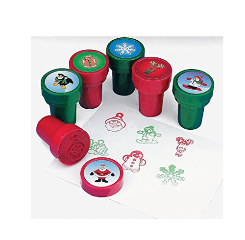 12 Plastic Metallic Holiday Christmas Stampers - 1