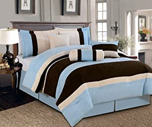 coupon for 7 pc beautiful blue brown beige micro suede comforter set bed in a bag king size bedding