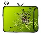 TaylorHe Funda de neopreno para portátil (15,6/39 cm) Laptop Sleeve con bolsillos laterales para accesorios Samsung/Acer/Toshiba/Macbook, diseño de remolinos de flores, verde