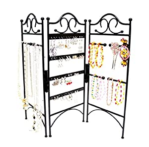 3-Panel Jewellery Organiser for Hanging Earrings, Bracelets, & Necklaces, Black