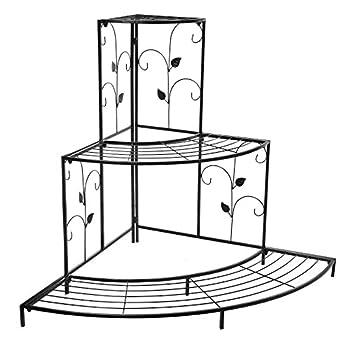 Black Floral Design Metal Step Style 3 Tier Corner Shelf Flower Pots, Planters Display Stand / Shoe Rack