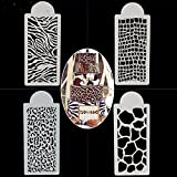 SEPTEMBER 4PCS Wedding Birthday Cake Decorating Bakery Tools, Zebras and Leopard Print Cake Templates, Fondant Template Mold