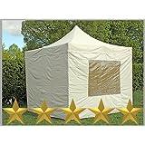 Faltzelt Faltpavillon 3x3m 3x3m beige mit 4 Seitenteilen Partyzelt Pavillon Verkaufszelt wasserdicht