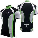 Deko Tethys Mens Bike Short Sleeve Cycling Jersey, Retro Cycle Shirt Top. Black, Green, White,