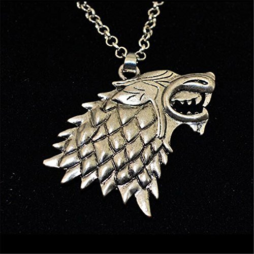 Game of Thrones The Stark House Wolf Necklace Silver Color Pendant Chain - 1