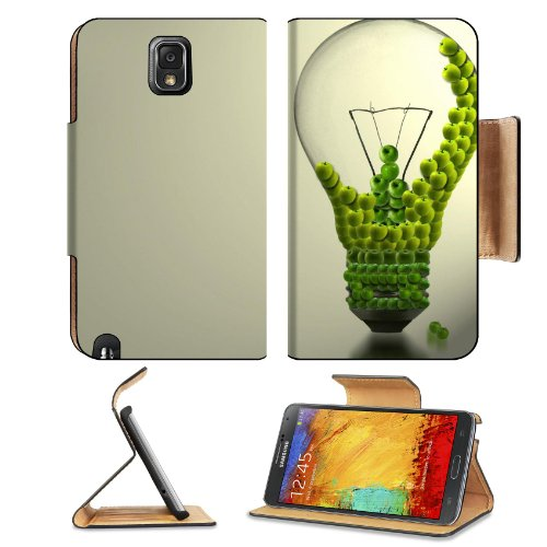 Green Electricity Sustainable Energy Art Creative Samsung Galaxy Note 3 N9000 Flip Case Stand Magnetic Cover Open Ports Customized Made To Order Support Ready Premium Deluxe Pu Leather 5 15/16 Inch (150Mm) X 3 1/2 Inch (89Mm) X 9/16 Inch (14Mm) Liil Note