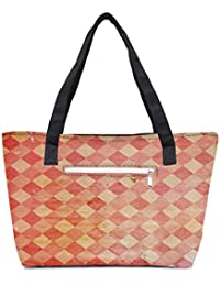 Pack Of 2 Multicolor Blocks Pattern Combo Tote Shopping Grocery Bag With Coin Pencil Purse