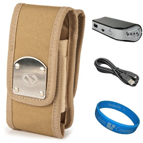 Khaki Beige NZTK Durable Holster Case with 2 Optional Belt Clips for Sony Xperia T / Sony Xperia V / Sony Xperia SL / Sony Xperia GX / Sony Xperia ion / Sony Xperia S Smartphones + Universal Power Bank with Micro USB Charging Cable + SumacLife TM Wisdom Courage Wristband