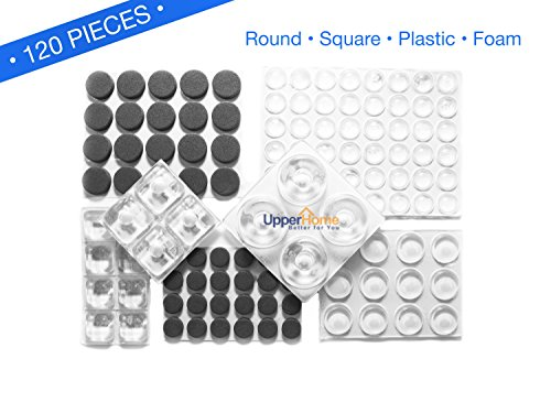 premium-quality-self-stick-bumpers-assortment-pack-clear-plastic-foam-round-and-square-120-pieces
