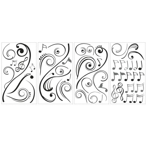Roommates RMK2083SCS Music Scroll Notes Peel  and  Stick Wall Decals - 1