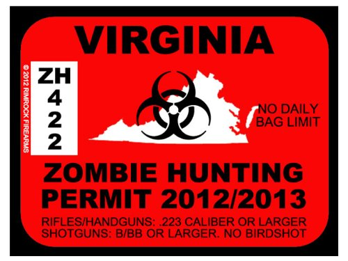 VIRGINIA Zombie Hunting Permit 2012 (Bumper Sticker)