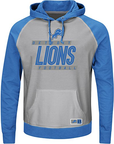 NFL Detroit Lions Men's Crossbar Program Fleece Long Sleeve Pullover Hoodie, Steel Heather/Sport Blue/Stone Gray, Large (Detroit Lions Program compare prices)