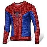 spiderman 風 T-シャツ 長袖 スパイダーマン 風 アニメTシャツ コスプレ衣装 コスチューム(赤&黒) (L, 赤)