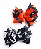 """Mike & Mary Large Hair Bows For Girls 5"""" Boutique Hair Bows with Alligator Clips Headdress Hair Clips Hair Pins (2 pcs 5"""" Orange & White)"""