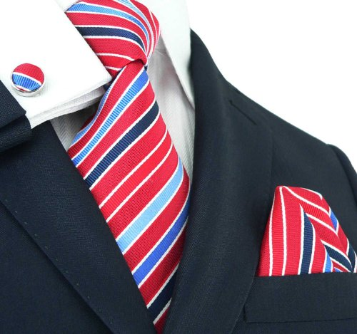 LANDISUN 86C RED BLUE STRIPE SILK SET:TIE+HANKY+CUFFS
