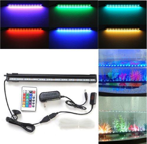 "Crzdeal® Underwater Aquarium Led Light Bar Flood Light Strip & Airstone For Fish Tank (12"" + Multi-Color Ir Remote)"