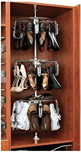 Rev-A-Shelf CLSZ-W3-55-1 3 Shelf Women's Lazy Shoe-Zen Organizer with Closet Shaft, Chrome
