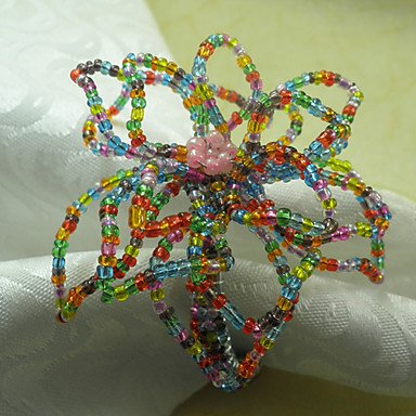 Cuckoo Acrylic Beads Napkin Ring, Dia4.2-4.5cm Set of 12