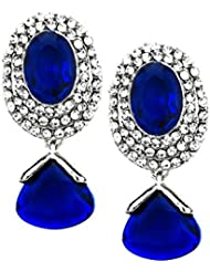 Bindhani Silver Rhodium Plated Faux Sapphire Blue Crystal Earrings For Women