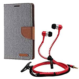 Aart Fancy Wallet Dairy Jeans Flip Case Cover for MicromaxQ380 (Grey) + Zipper Earphones/Hands free With Mic *Stylish Design* for all Mobiles- computers & laptops By Aart Store.