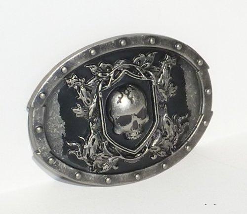 BeltsandStuds Goth Punk Tomb Skull Metal Buckle Silver